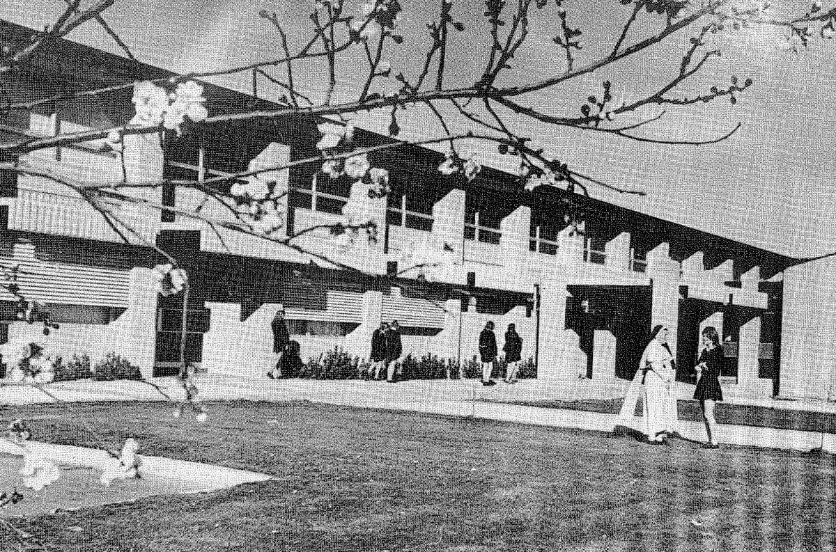 A black and white photo of the original Merici campus